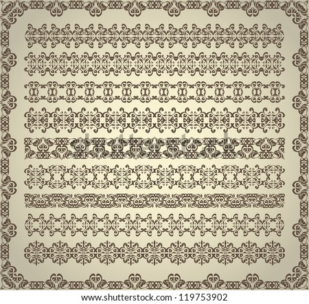 Set of vintage ornaments for decoration - stock vector
