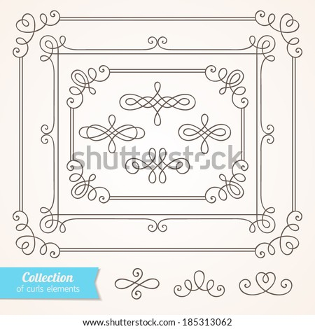 Set of vintage ornate frames with curl elements for invitation, congratulation and greeting card - stock vector