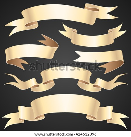 Set of vintage paper ribbons on a dark background for your design and decoration