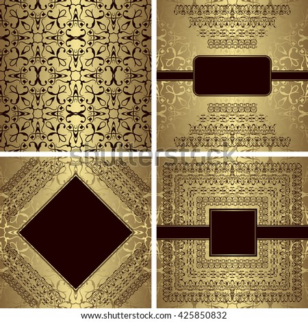 Set of vintage pattern and three luxury invitations. Golden background. Template for your design