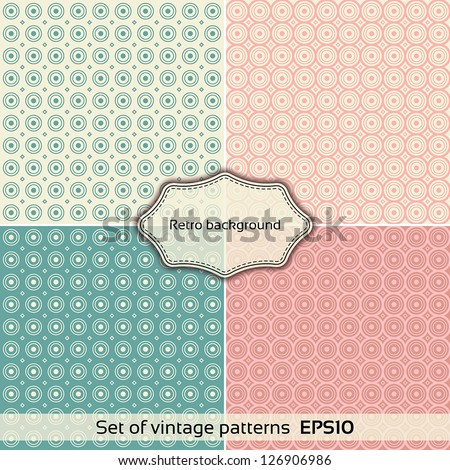 Set of Vintage patterns. Universal: Background Pattern Texture. Vector illustration EPS10 - stock vector