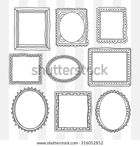 set of vintage photo frame in doodle style - stock vector