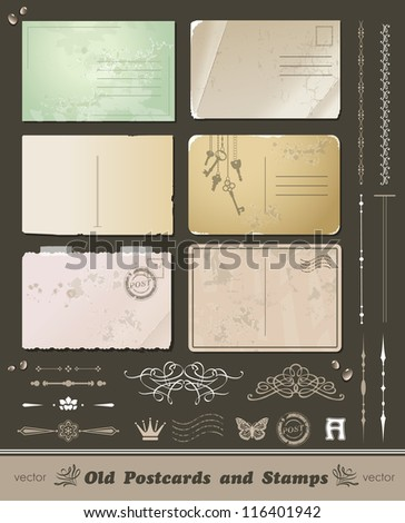 set of 6 vintage postcard and elements for design of cards and letters - stock vector