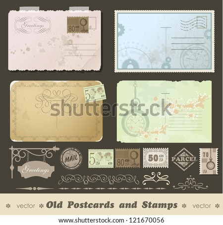 set of 4 vintage postcard designs and postage stamps - stock vector