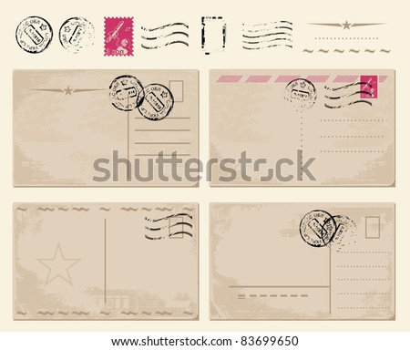 set of vintage postcards with stamps - stock vector
