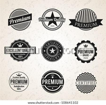 Set of Vintage Premium labels - stock vector