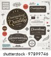 Set of vintage Premium Quality and Guaranteed labels, engraving leafs and flower and other vintage elements for retro design. Old paper texture. - stock
