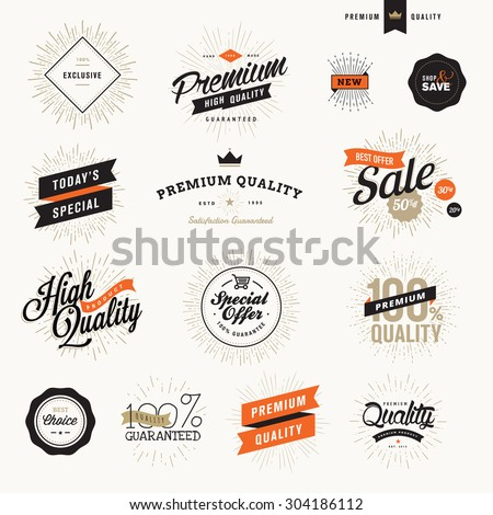 Set of vintage premium quality labels and badges for promotional materials and web design. - stock vector