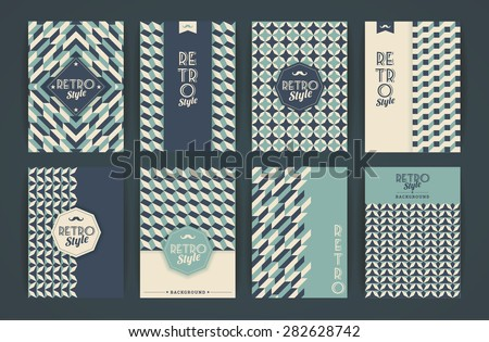 Set of Vintage Retro Backgrounds. Patterns for Placards, Posters, Flyers and Banner Designs. - stock vector