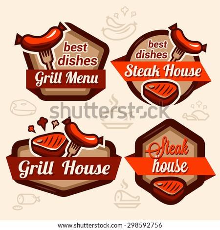 Set of vintage retro badge, label, logo design templates for hotdog, steak house, grill menu. - stock vector