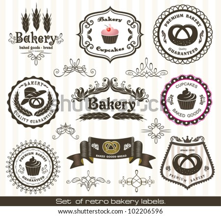 Set of vintage retro bakery  labels - stock vector