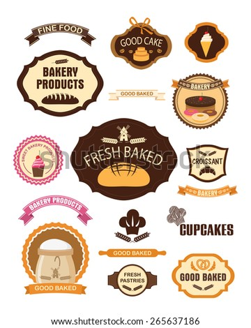 Set of vintage retro bakery pastry labels, badges, ribbons, cards and design elements. Vector illustration - stock vector