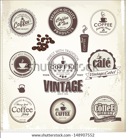 Set Of Vintage Retro Coffee Badges - stock vector