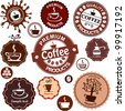 Set of vintage retro coffee badges and labels. Collection of design elements isolated on White background. Vector illustration - stock vector