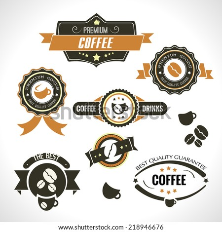 Set of vintage retro coffee badges and labels for coffee shop