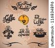 set of vintage retro coffee labels. vector hand draw art - stock vector