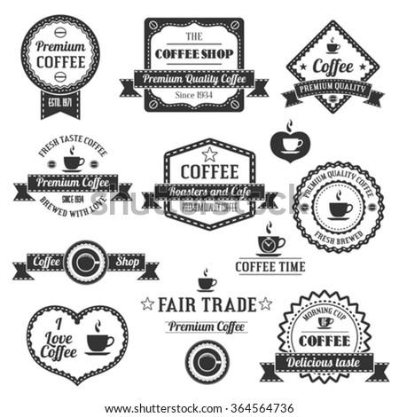 Set Of Vintage Retro Coffee Shop Labels - stock vector