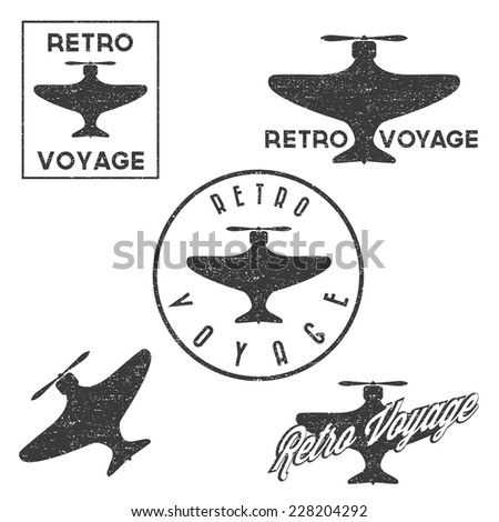 Set of vintage retro grunge aeronautics flight badges and labels - stock vector