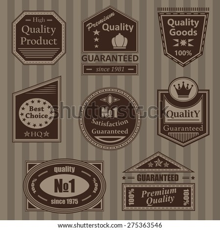 Set of vintage retro labels and stamps. Vector collection. Striped background     - stock vector