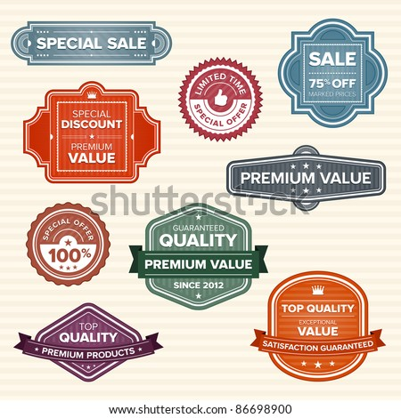 Set of 9 vintage retro labels in various colors - stock vector