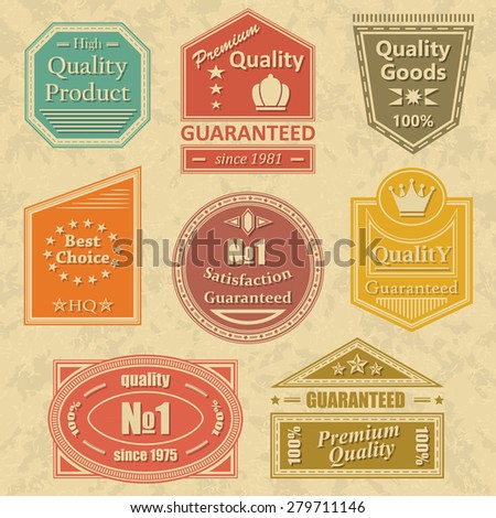 Set of vintage retro labels, stamps. Bright colors. Grunge background     - stock vector