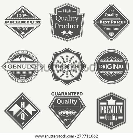 Set of vintage retro labels, stamps. Vector set of design elements     - stock vector