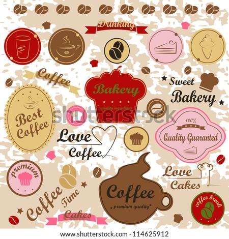 Set of vintage retro - modern bakery logo badges and labels, vector illustration. Logo Symbol - stock vector