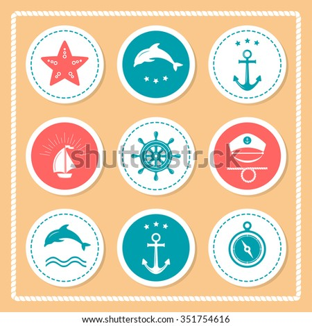 Set of vintage retro nautical badge. Collection of various nautical elements for design decoration. Set frames, retro badges and labels. Summer holidays, travel, vacation labels template vector set.
