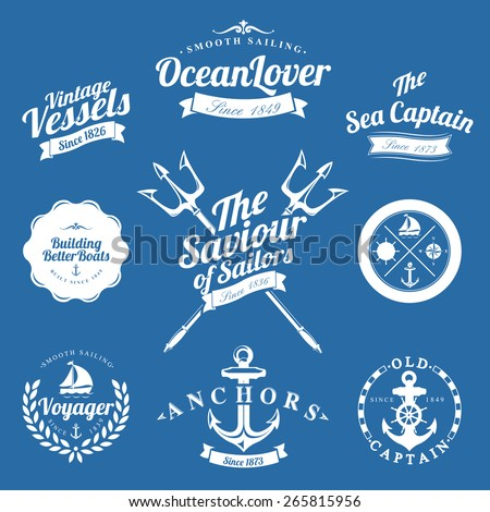 Set Of Vintage Retro Nautical Badges And Labels On Blue Background - stock vector