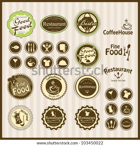 Set of vintage retro restaurant - stock vector