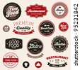 Set of vintage retro restaurant badges and labels - stock