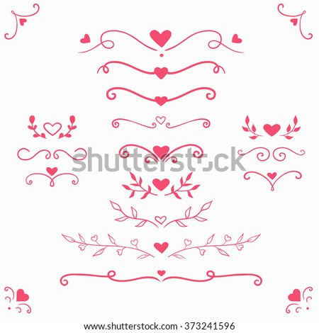 set of vintage romantic flourishes, romantic decorative elements with hearts for Valentine's day, vector decorative swirls and dividers isolated on white - stock vector