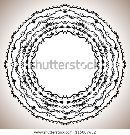 Set of vintage round frames. May be used as decoration. - stock vector