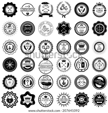 Set of 36 vintage round labels. Vector illustration. - stock vector