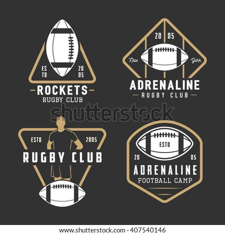 Set of vintage rugby and american football labels, emblems and logo. Vector illustration  - stock vector