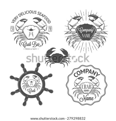 Set of vintage seafood labels and badges with crabs, sunburst, helm for your design - stock vector