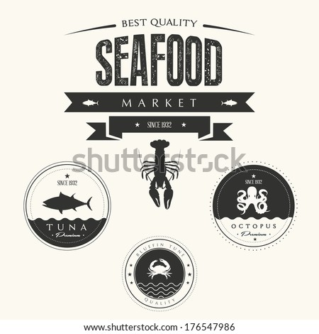 Set of vintage seafood  labels, badges and design elements - stock vector