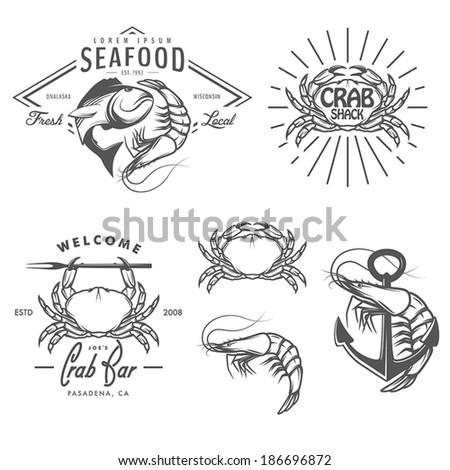 Set of vintage seafood labels, badges and design elements - stock vector