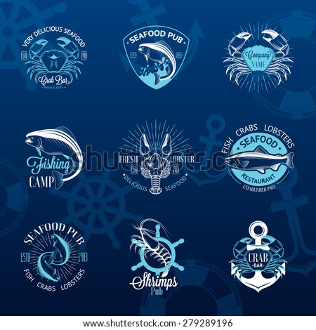 Set of vintage seafood logos with fish, crab, lobster, shrimp, anchor, helm and sunburst on blue background - stock vector