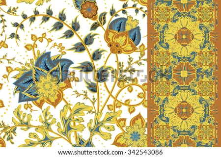 Set of vintage Seamless floral background and seamless border. Vector fantasy flowers pattern. Use to create fabric projects or design elements for scrap booking, greeting cards, textiles. - stock vector