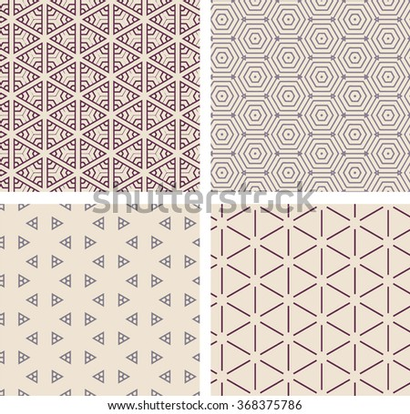 Set of 4 vintage seamless geometric pattern. Vector retro repeating background. Vector vintage background image. Shapes background in different colors.