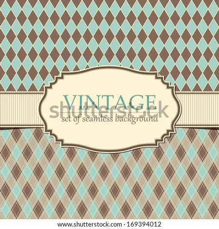 Set of vintage seamless patterns with frame