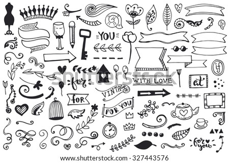 Set of vintage sketch elements. Vector decoration collection. Hand drawn flowers and leaves, and page decor. - stock vector