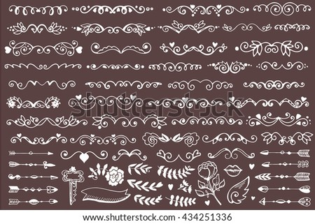 Set of vintage sketch elements. Vector decoration collection. Hand drawn page decor. - stock vector