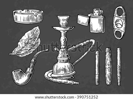 Set of vintage smoking tobacco elements. Monochrome style. Hookah, lighter, cigarette, cigar, ashtray, pipe, leaf, mouthpiece, guillotine. Vector vintage engraved illustration on dark background. - stock vector