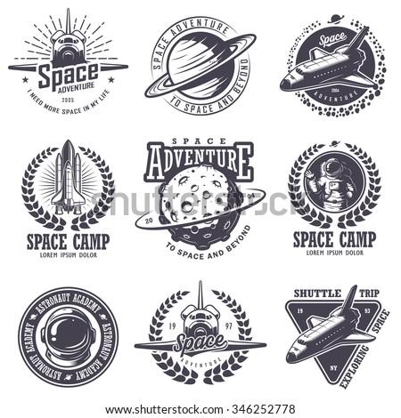 Set Vintage Space Astronaut Badges Emblems Stock Vector ...
