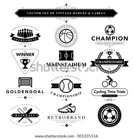 Set of vintage sport badges and labels - stock vector