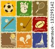 Set of Vintage Sports separate Labels - Retro Signs poster, vector illustration - stock