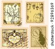 Set of vintage stamps - stock vector