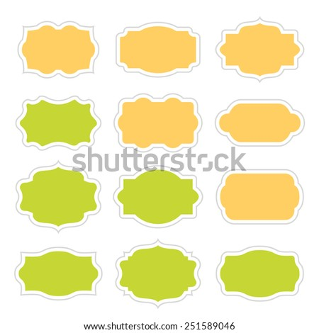 Set of vintage stickers border in frame for messages. - stock vector